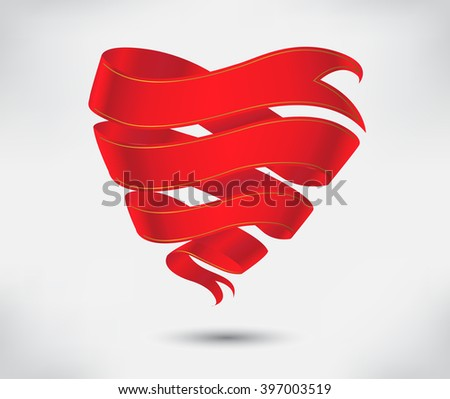 Red origami ribbon.Heart ribbon banner.Vector design element. - stock vector