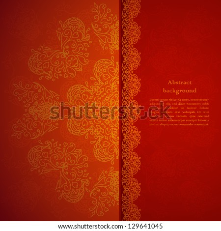 Red ornament background with sparks - stock vector