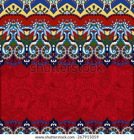 red ornamental floral folkloric background for invitation, cover design, fabric pattern or page decoration, ethnic border on vintage flower background, vector illustration - stock vector