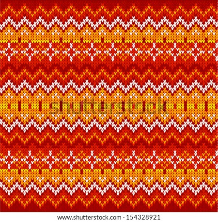 Red ornate zigzag stripes vector Christmas knit seamless pattern - stock vector