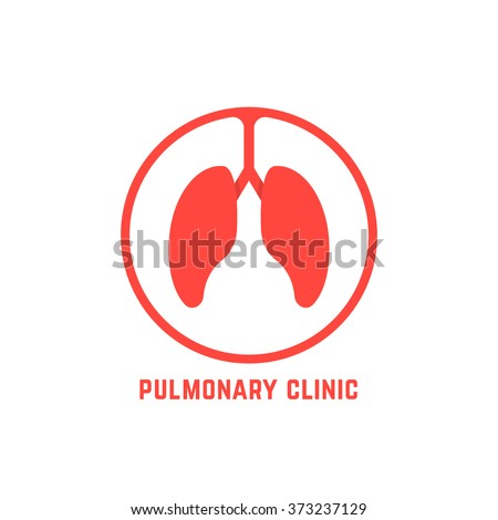 red outline pulmonary clinic logo. concept of aid, bronchi, trachea, chest, research, breath, internal. isolated on white background. flat style trend modern lungs logo design vector illustration