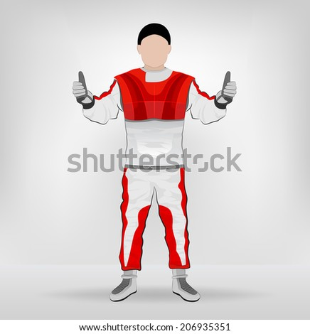 red overall standing racer thumbs up vector illustration - stock vector