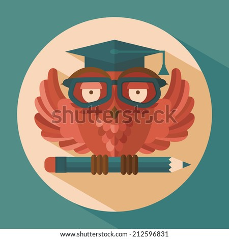 Red owl in graduation cap holding pencil flat vector illustration - stock vector