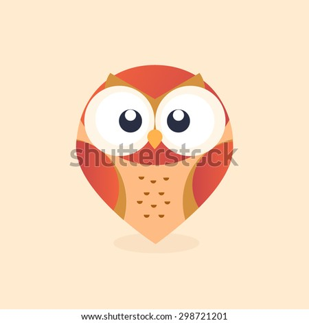 red owl pin illustrator vector - stock vector