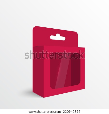 Red Package white box on a white background. vector - stock vector
