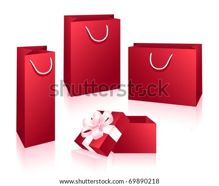 Red packets and box isolated on the white background. Vector illustration. - stock vector