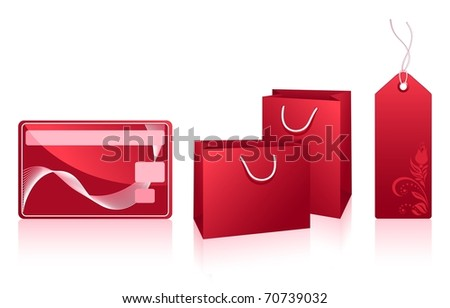 Red packets, price tag and credit card isolated on the white background,  shopping set. Vector illustration. - stock vector
