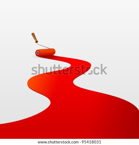 Red Paint and Roller - stock vector