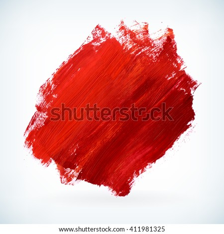 Red paint artistic dry brush stroke. Watercolor acrylic hand painted backdrop for print, web design and banners. Realistic vector background texture - stock vector
