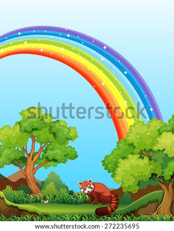 Red panda in the field with rainbow over it - stock vector
