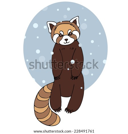 Red panda in winter. Vector illustration with cute red panda. - stock vector