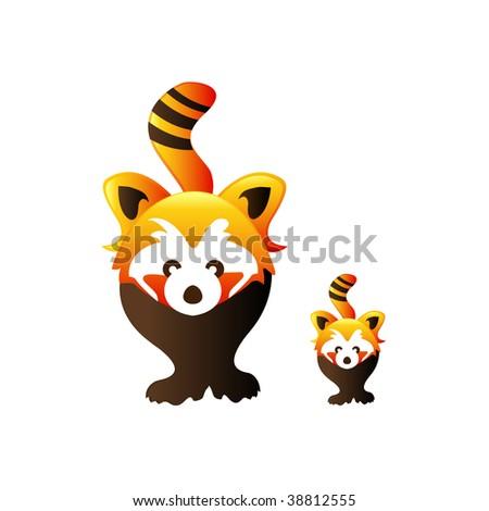 red pandas - stock vector