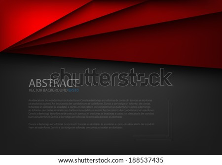 Red paper background origami on overlap black texture and pattern dimension grey vector illustration message board for text and message design modern website - stock vector