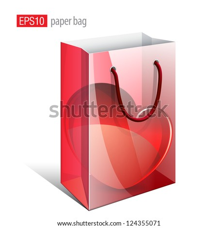 Red Paper Bag with a picture that simulates the inside is a Heart. Vector illustration - stock vector
