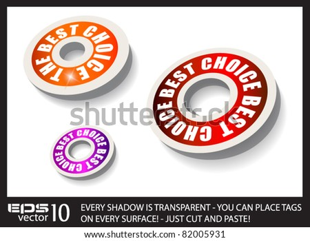 Red Paper Circular Style tags with transparent shadows. You can place it on every surface! - stock vector