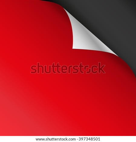 Red  paper corners. Vector illustration