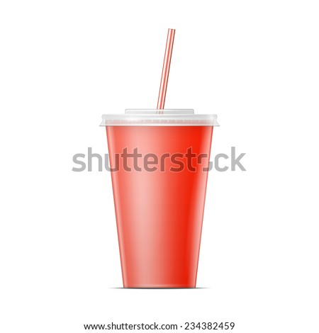 Red paper cup template for soda or cold beverage with drinking straw, isolated on white background. Packaging collection. Vector illustration.