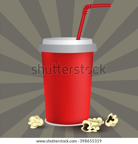 Red paper cup template for soda or cold beverage with drinking straw, isolated on white background with popcorn - stock vector