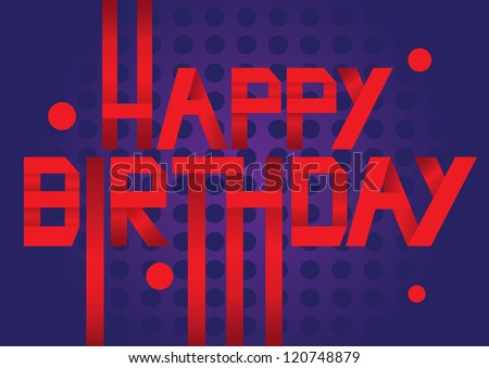 Red Paper Folding text with birthday greeting message. Vector illustration. - stock vector