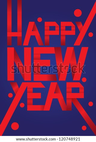 Red Paper Folding text with new year greeting message. Vector illustration. - stock vector