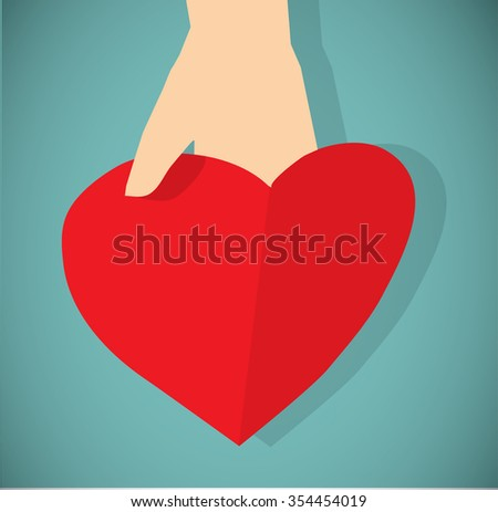 Red paper heart in hand flat icon. Greeting card with empty place for text. Color vector illustration. EPS8 - stock vector