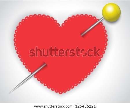 red paper heart pierced by a safety pin - stock vector