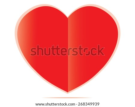Red paper heart Valentines day card on white background - stock vector