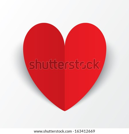 Red paper heart Valentines day card on white background. Vector abstract background with heart. Paper heart cut from paper.