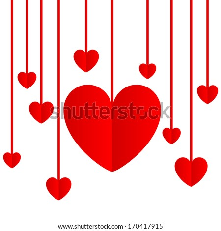 Red paper hearts Valentines day card on a white background
