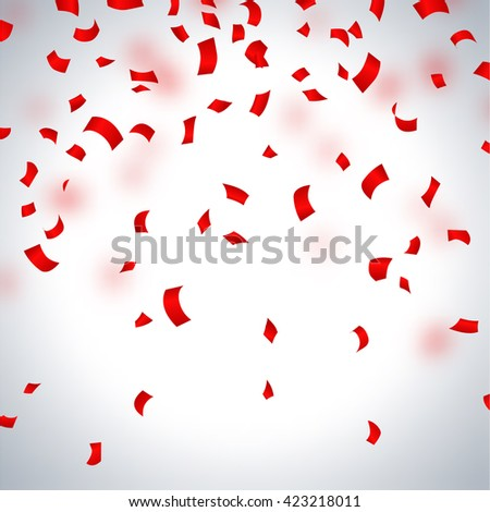 Red paper in flight on a light background, vector illustration - stock vector