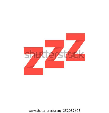 red paper origami snoring sign. concept of goodnight, token, expression, message, standby, drowsiness, nap. isolated on transparent background. flat style trend modern logotype design vector illustration - stock vector