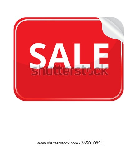 Red paper sticker on white background. Vector stickers with curled edge. Sticker rectangular shape. Stickers on the theme of sale - stock vector