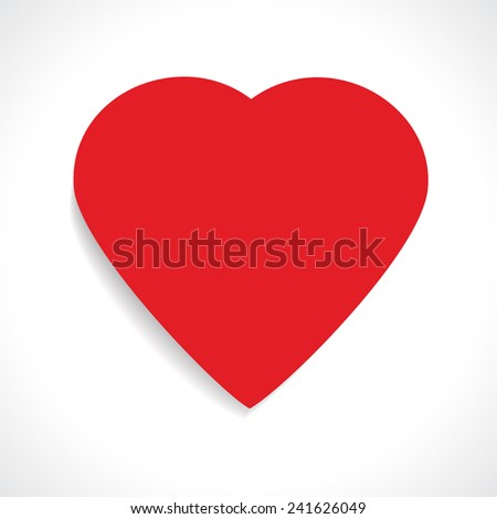 Red paper template heart Valentines day on white isolated background. Happy Valentine's Day. Vector illustration EPS 10. - stock vector