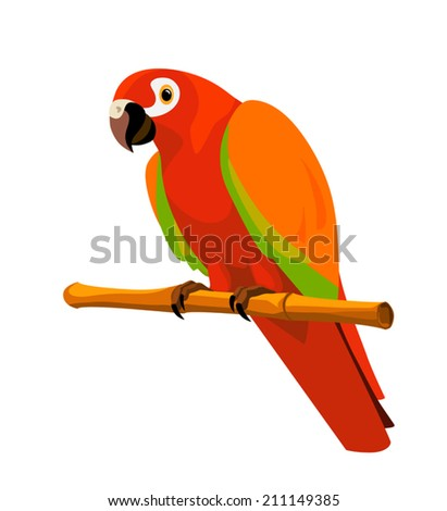 red parrot with orange and green wings sitting on a bamboo perch, isolated on white background - stock vector