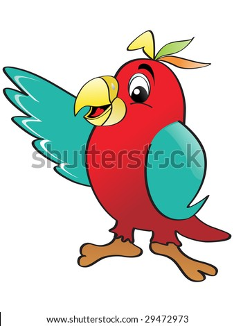 red parrot with white background, vector image - stock vector