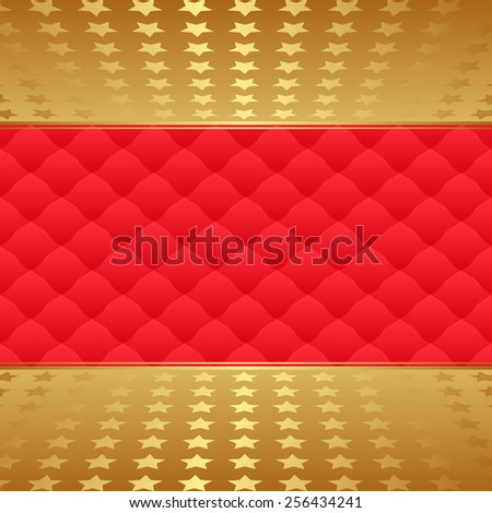 red pattern and golden stars - stock vector