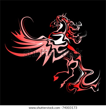 red Pegasus vector - stock vector