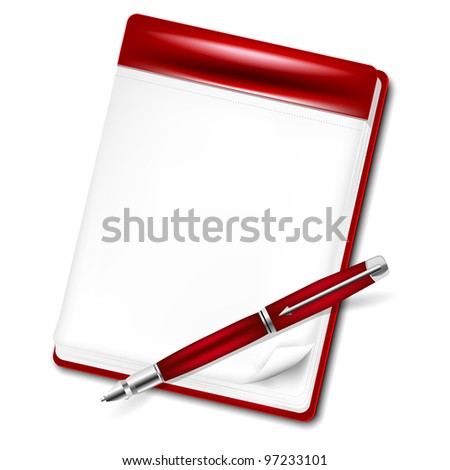Red pencil and blank page of a notebook for your message - stock vector
