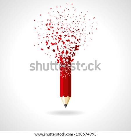 red pencil on a white background. idea - stock vector