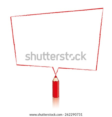 Red Pencil with Reflection Drawing Skewed Rectangle Shaped Speech Bubble on White Background - stock vector