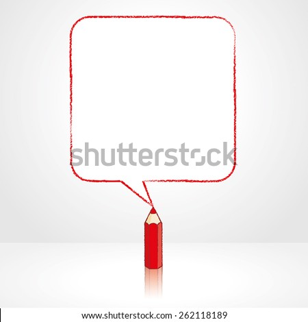 Red Pencil with Reflection Drawing Smooth Square Shaped Speech Bubble on Pale Background - stock vector