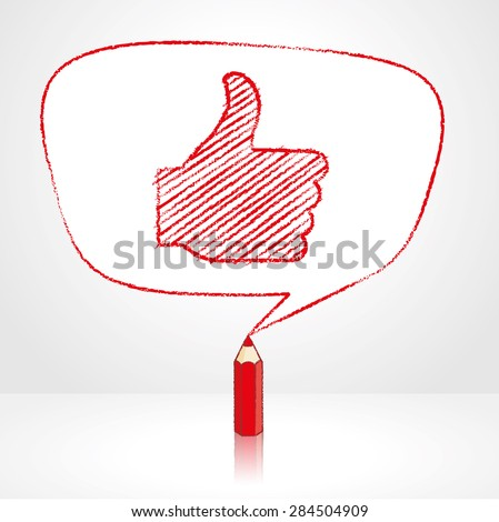 Red Pencil with Reflection Drawing Thumbs Up Symbol in irregular shaped Speech Bubble on Pale Background - stock vector