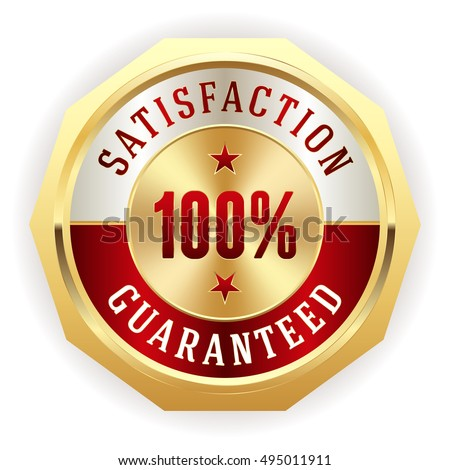 Red 100 percent satisfaction badge with gold border on white background