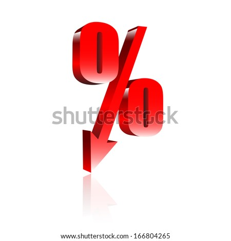 Red percentage symbol with an arrow down - stock vector