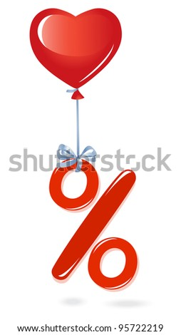 Red percentage symbol with heart balloon - stock vector