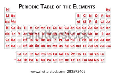 Red Periodic table of the elements illustration vector universal no language - stock vector