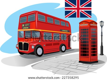 red phone booth and red bus in London - stock vector