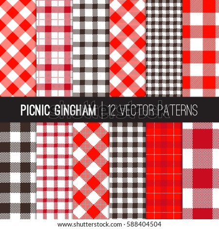 Red Picnic Tablecloth Gingham Tartan Patterns Stock Vector 588404504    Shutterstock