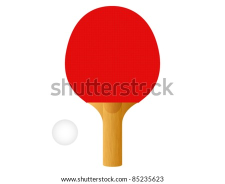 Red Ping Pong Paddle with Ball - Vector Illustration