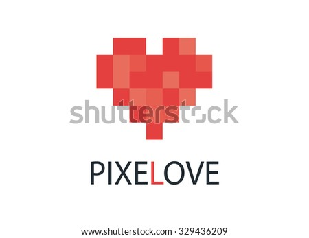 Red pixel heart - vector logo concept illustration. Heart sign. Valentine's Day concept sign. Simple heart icon representing love emotion - vector icon - stock vector